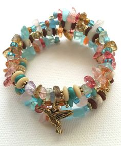 Hummingbird Multi-color Memory Wire Bracelet #wirejewelry