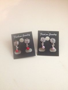 Rose Stud With Coloured Pearl Earrings by ScarlettSkyProducts
