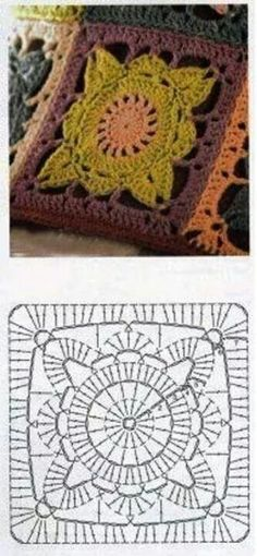 Crochet motif square Droos Design