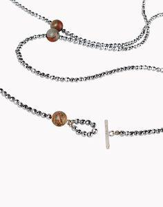 Brunello Cucinelli silver-plated hematite and jasper poppy necklace