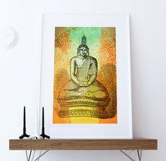 Hindu Gautama or Buddha Print Vintage Hindu Decor Wall Art - Giclee Print on Cotton Canvas and Paper Canvas  #wallart #homedecor #print #Hinduism #hindu #hindubuddha #buddha #indian #art #etsy #buddhaprint #buddhaart #walldecor #boho #india #illustration #vintage #artprint #siddhartha #gautama #siddharthaprint #gautamaprint