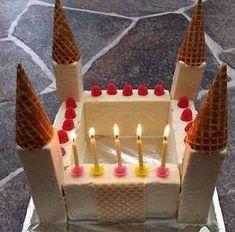 Enkel glasstårta till barnkalaset! Med lätta medel kan man göra ett snyggt prinsess-slott/riddarslott av glass. Mycket uppskattat av barne...