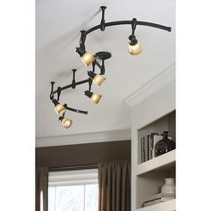 Brushed Steel Finish Cal Lighting SL-954-3-BSBRNS Track Lighting with Burnt Glass Shades