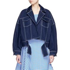 shushu/tong Cropped oversize denim jacket ($850) ❤ liked on Polyvore featuring…