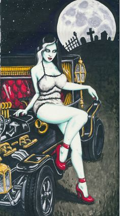 Pin Ups and skulls 8x12 stretched canvas prints (multi listing) by ShayneoftheDead