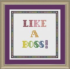 Like a boss funny crossstitch pattern by nerdylittlestitcher, $3.00