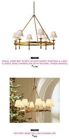 Visual Comfort SL5812 Studio Sandy Chapman 6 Light Classic Ring Chandelier with Natural Paper Shades $1,155 vs Pottery Barn Collins Chandelier $499