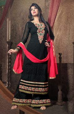 948ee310d59 Look like fashionista in this black pink georgette designer tv actress  salwar suits online with best prices. We provide this trendy palazzo  wedding dress ...