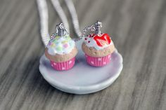 Polymer Clay Miniature Food Jewelry - Cupcake Necklace. $15.00, via Etsy.