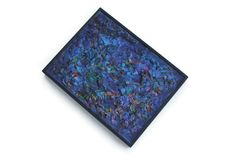 Vintage Indigo Blue Abstract Painting Framed by PythagorasPlace