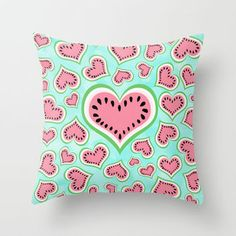 Watermelon Love... Throw Pillow by Lisa Argyropoulos | Society6