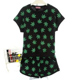 Women Two Piece Summer Hemp WEED CANNABIS Pot Weed Marijuana Leaf sport suit shorts sleeve tshirt +pants set costume-in T-Shirts from Women's Clothing & Accessories on Aliexpress.com | Alibaba Group
