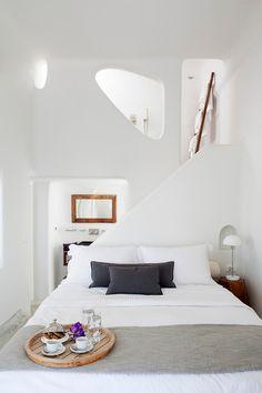 Modern country design inspiration | Image of Native Eco Villa in Santorini via Villas of Distinction.