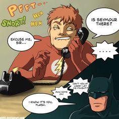 Wally fails at prank calling. requested by ~kumoi-no-hikari Flash prankcalls Batman Captain Marvel, Marvel Dc, Birdflash, Clintasha, Wally West, Under The Shadow, Batman, Fastest Man, Young Justice