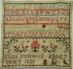 VERY SMALL EARLY 19TH CENTURY SAMPLER BY ELIZA DUNWELL AGED 7 - 1831