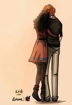 Ron & Hermione - although I don't ship them, this is a particularly cute fan art :) Arte Do Harry Potter, Harry Potter Ships, Harry Potter Fan Art, Harry Potter Universal, Harry Potter Fandom, Percabeth, Desenhos Harry Potter, Fashion Mode, Hermione Granger