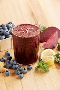 This delicious Blueberry Beet Juice is boosted with Kale for some mega-health benefits and a little lemon for flavor and Vitamin C!