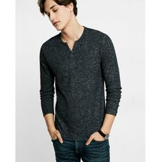 Express Notch Neck Henley ($30) ❤ liked on Polyvore featuring men's fashion, men's clothing, men's shirts, men's casual shirts, black, mens long sleeve shirts, express mens shirts, mens straight hem shirts, mens henley shirts and mens long sleeve henley shirts