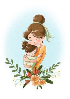 Mother hugs little girl toddler illustration. Cute Mother's Day illustration. Mother and daughter illustration. Mother And Daughter Drawing, Mother Art, Mother And Child, Cute Images, Cute Pictures, Mom Drawing, Mothers Day Drawings, Baby Illustration, Buch Design