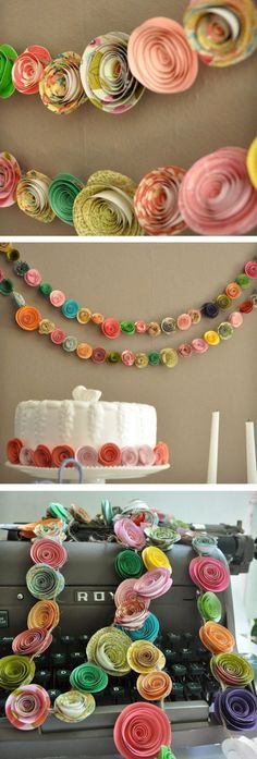 Colorful Paper Flower Garland: Neat idea for a bridal or baby shower, anniversary party, etc. Paper Flower Garlands, Diy Flowers, Paper Flowers, Paper Rosettes, Fun Crafts, Diy And Crafts, Crafts For Kids, Arts And Crafts, Diy Paper
