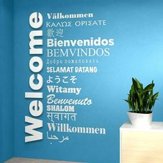 Welcome Sign Multilanguage , for Global Offices, Receptions, Lobbies, Hotels and Entryways SKU:CRTMD