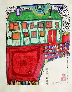 Häuser im Schnee und Silberregen Postcard Hundertwasser Kunstkarte