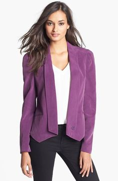 Dual seams add definition to the structured shoulders of a sueded-silk blazer, tailored with shawl lapels, articulated sleeves and a pointed hemline. Color(s): amethyst. Brand: REBECCA MINKOFF. Style Name: Rebecca Minkoff Becky Silk Jacket. Style Number: 919241.