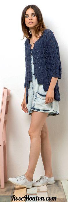Gilet tricoté en fil Sol de Lang Yarns (100% coton) https://www.rosemouton.com/lang-yarns-modele-gilet-46-catalogue-218-1796.html #rosemouton #gilet #langyarns #tricot #knit #knitting