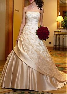 Beautiful Elegant Satin & Lace Ball Gown Strapless Wedding Dress In Great Handwork #DRESSILYME