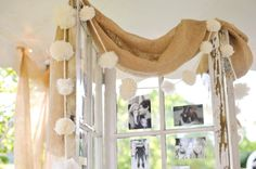 Use old pane doors without the glass to display pictures of the couple. Twine works well to string across the door. You can get tiny clothes pins from craft store to attach pictures. Wedding Sand, Fall Wedding, Diy Wedding, Rustic Wedding, Wedding Ceremony, Wedding Ideas, Wedding Pinterest, Pinterest Board, Guest Book Table