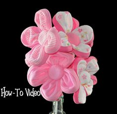 Baby Washcloth Flowers and Bouquet Diaper Cake Topper