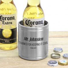 Engraved Silver Stainless Steel Stubby Holder Personalised Teachers Gift. Show your teacher how cool you think they are by gifting them this custom beer cooler! Professionally laser engraved with the design of your choice and your custom details, there is no better way to say thanks!