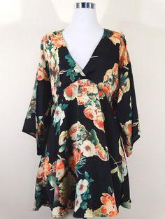 82acf96f59f41f Cotton Candy Mini Dress Black Floral 3 4 Kimono Sleeve V neck Zip Back Sz