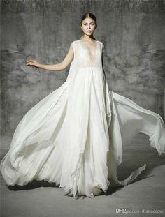 V Neck Fairy Beach Wedding Dress Backless 2016 Asymmetrical Perspective Princess Tiered Skirts Bohemian Dresses