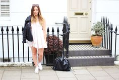 Summer Dress / Pink / Brandy Melville / Leather Jacket / Topshop Sunglasses / Zara Bag / Brighton / Style / Hello October