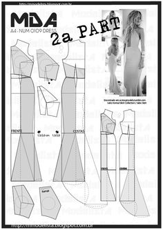Sewing pattern / Dress part Techniques Couture, Sewing Techniques, Diy Sewing Projects, Sewing Tutorials, Dress Sewing Patterns, Clothing Patterns, Pattern Dress, Fashion Sewing, Diy Fashion