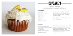Mango Cupcakes with Buttercream Frosting and Coconut. This website has the best cupcake recipes! Gourmet Cupcakes, Mango Cupcakes, Cupcake Flavors, Yummy Cupcakes, Amazing Cupcakes, Buttercream Frosting For Cupcakes, Coconut Frosting, Coconut Cupcakes, Macarons