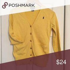 Ralph Lauren Cardigan Ralph Lauren Cardigan  Beautiful yellow cardigan with rich gold button detail.  Fits women's size XS/S Ralph Lauren Shirts & Tops Sweaters