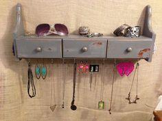 Upcycled Jewelry Organizing Display (Grey Drawer Shelf)