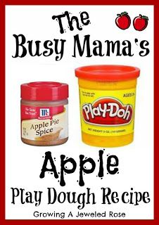 Apple Pie Playdough - so easy, just apple pie spice and playdough, kids love playing bakery shop, plus it smells AMAZING!