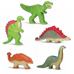 Handcrafted, chunky, wooden dinosaurs by Holtziger. These are really cute in person.