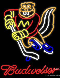 Budweiser Minnesota Golden Gophers Hockey Real Neon Glass Tube Neon Sign,Affordable and durable,Made in USA,if you want to get it ,please click the visit button or go to my website,you can get everything neon from us. based in CA USA, free shipping and 1 year warranty , 24/7 service
