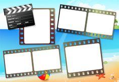 Plantilla Child 29x42 para la Creación de Foto Libros - Fondo Playa con film de película y claqueta de cine