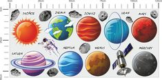 Kolorowe naklejki dla dzieci zestaw Kosmos Planety Rakieta
