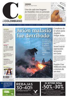 Portada de El Colombiano para el viernes 18 de julio de 2014