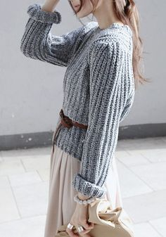 gray pullover sweater