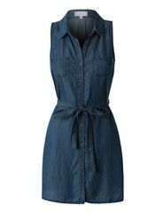 Womens Classic Loose Fit Chambray Jean Denim Shirt Dress with Pockets | LE3NO