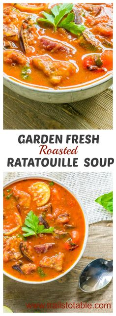 Garden Fresh Roasted Ratatouille Soup. A colorful blend of roasted vegetables and fresh herbs in a rich tomato broth.