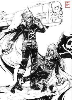 Space Pirate Captain Harlock/Queen Emeraldas Comm by anireal