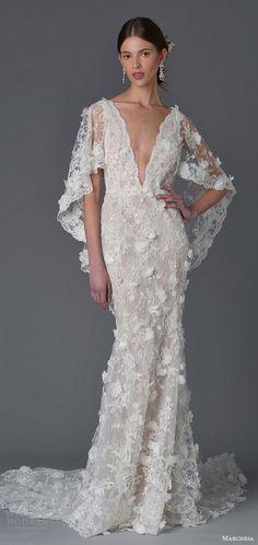 marchesa spring 2017 bridal (3) flutter sleeves deep v neck sheath lace wedding dress appliques mv
